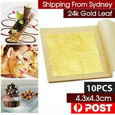 10pcs Pure 24K Edible Gold Leaf Sheets Cooking Framing Art Craft Decorating AU