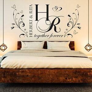 Details zu Wandtattoo Initialen für Paare | Wunsch Namen Schlafzimmer Liebe  Spruch Geschenk