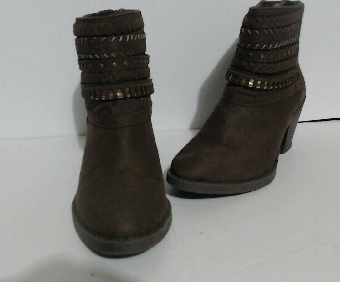 sugar ankle boots womens 7.5m brown faux suede western bootie studded tall tale