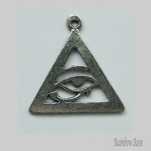 PEWTER CHARM #124 Eye of Horus Ra Udjat Egyptian Symbol ... Eye Of Horus In Triangle