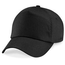 Cappellino NERO Beechfield B10 - Uomo Donna con Visiera Precurvata Berretto Golf