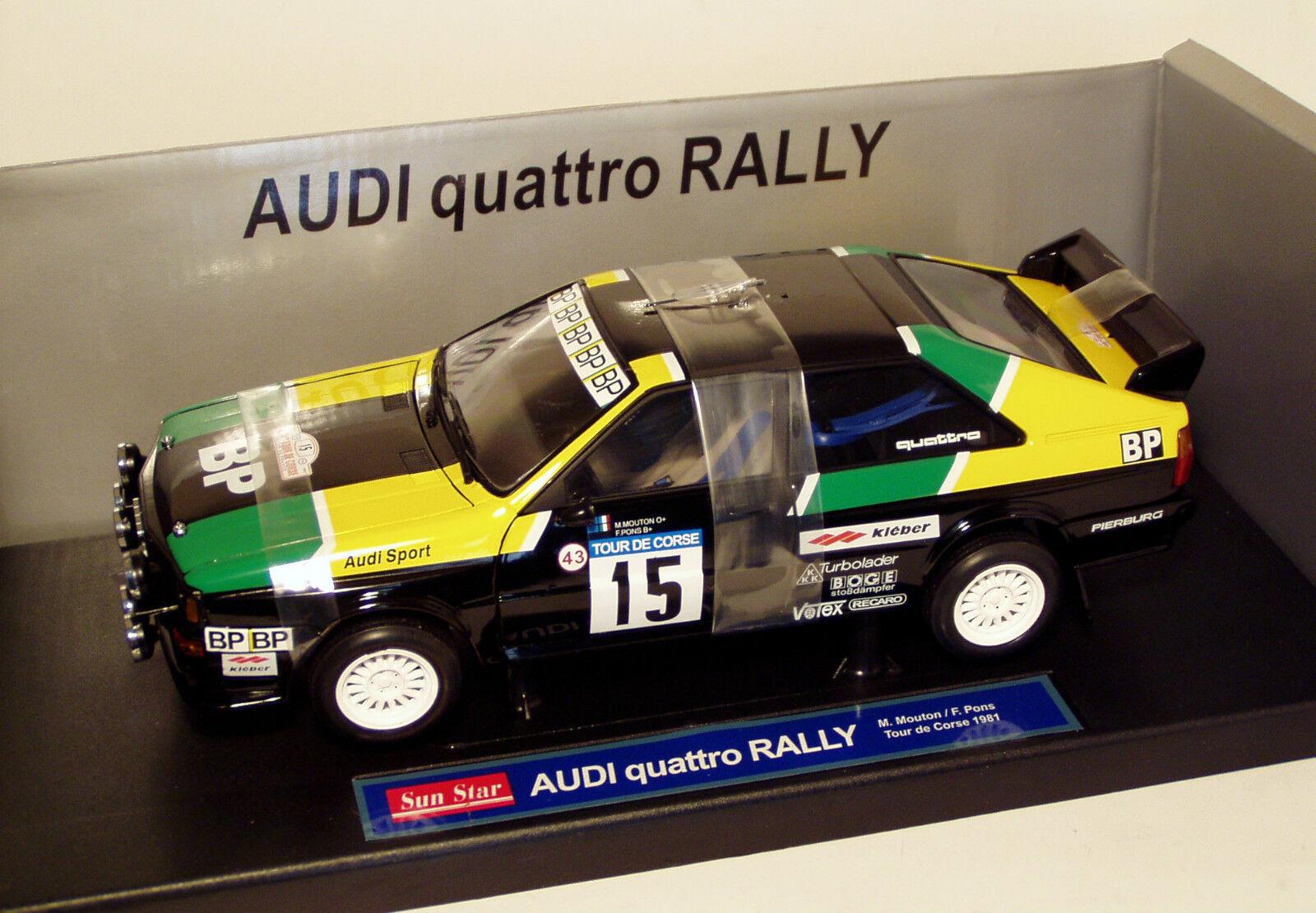ahorre 60% de descuento 1 1 1 18 AUDI Quattro Coupe BP de France Tour de Corse Rally 1981 M. Mouton  sin mínimo
