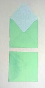 PEARL GREEN DIAMOND FLAP SQUARE ENVELOPES FREE P/&P 138mm x 138mm