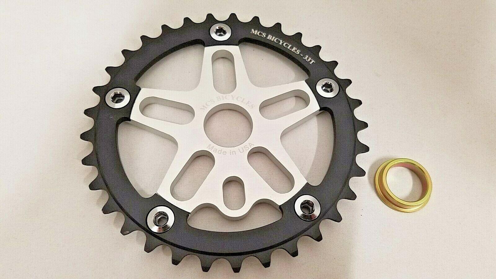 MCS Bmx  Araña Plato Combo 33T Negro Plata Retro se 26  bicicletas hechos en EE. UU.  precios mas bajos