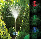 FIBRE OPTIC COLOUR CHANGING LED SOLAR POWER STAKE LIGHT GARDEN OUTDOOR PATH LAMP