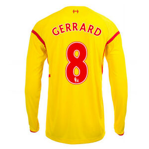 pretty nice 4402d ee982 Details about New Genuine Liverpool 2014/15 Long Sleeve Away Shirt GERRARD  8 Boys M L XL