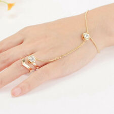 Punk Harness Hand Rhinestone Link Gold Plated Chain Bracelet Ring