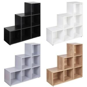 6-Cube-Step-Storage-Bookcase-Unit-Shelf-Home-Office-Organiser-Display-Box-NEW