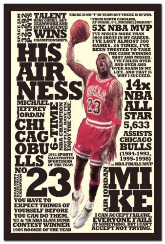 "Michael Jordan Slam Dunk Motivational Quotes Art Silk Poster 13x20 20x30/"""