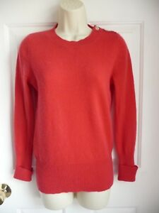 Details about FENN WRIGHT MANSON S Sweater Red 100% 2 Ply Cashmere Crewneck Buttoned Shoulder