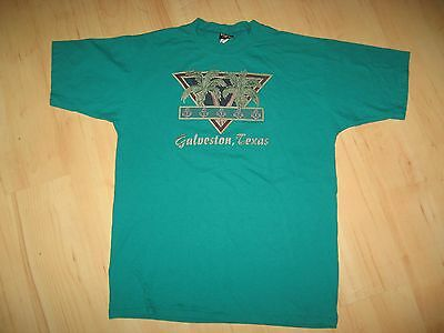 Galveston TX Tee - Vintage 1997 Texas USA Vogue Wham Disco Blue T Shirt XLarge