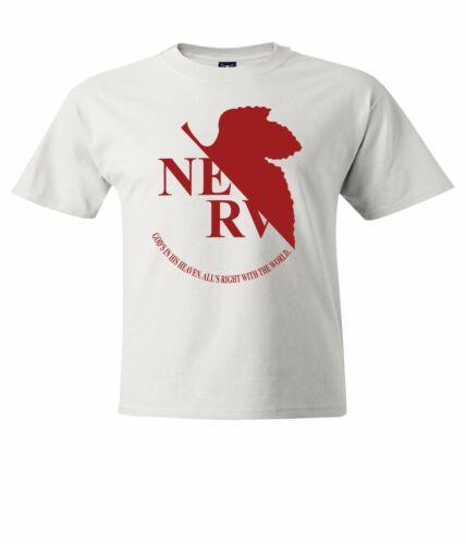 Red Evangelion EVA Nerv Symbol Men Unisex Crew Neck T-Shirt Top Tee Short Sleeve