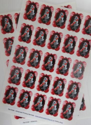 50 Fun Christmas Cat Labels Ornate Portrait Border Card /& Gift Seals 156-06