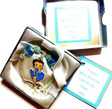 Betty Boop Aqua Blue Charm Bracelet +Personalised Gift Box - Birthday Christmas