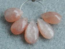 Strawberry Pink Moonstone Pear Briolette Semi Precious Gemstone Beads 001