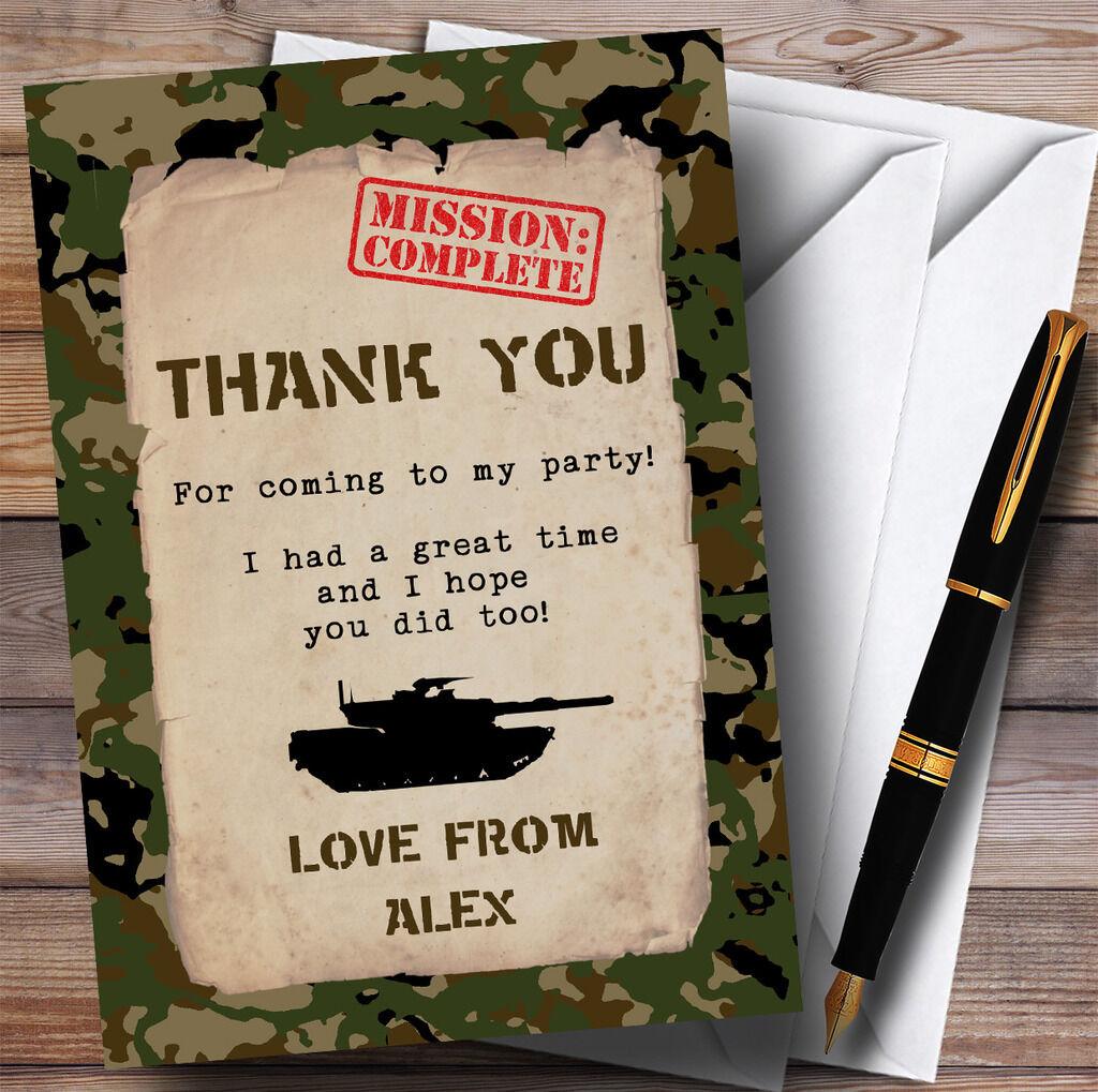 Top Secret Army Soldier Camouflage parti Merci Merci parti cartes 52faf2