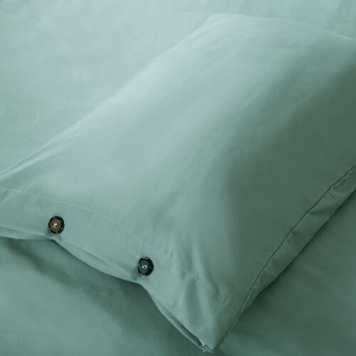 3 Pcs Soft Down Quilt Microfiber Cover Bedding Set,Button Design,Pea Green,Queen