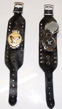 Flying Eagle Watch Wristband-Biker-Synthetic Leather-Gothic-Fetish-Punk.Silver