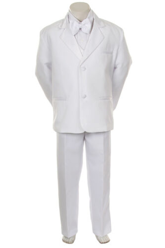 S3 Boy Baptism Communion Formal Party Wedding Tuxedo Suit 1 2 3 4 5 6-20 White