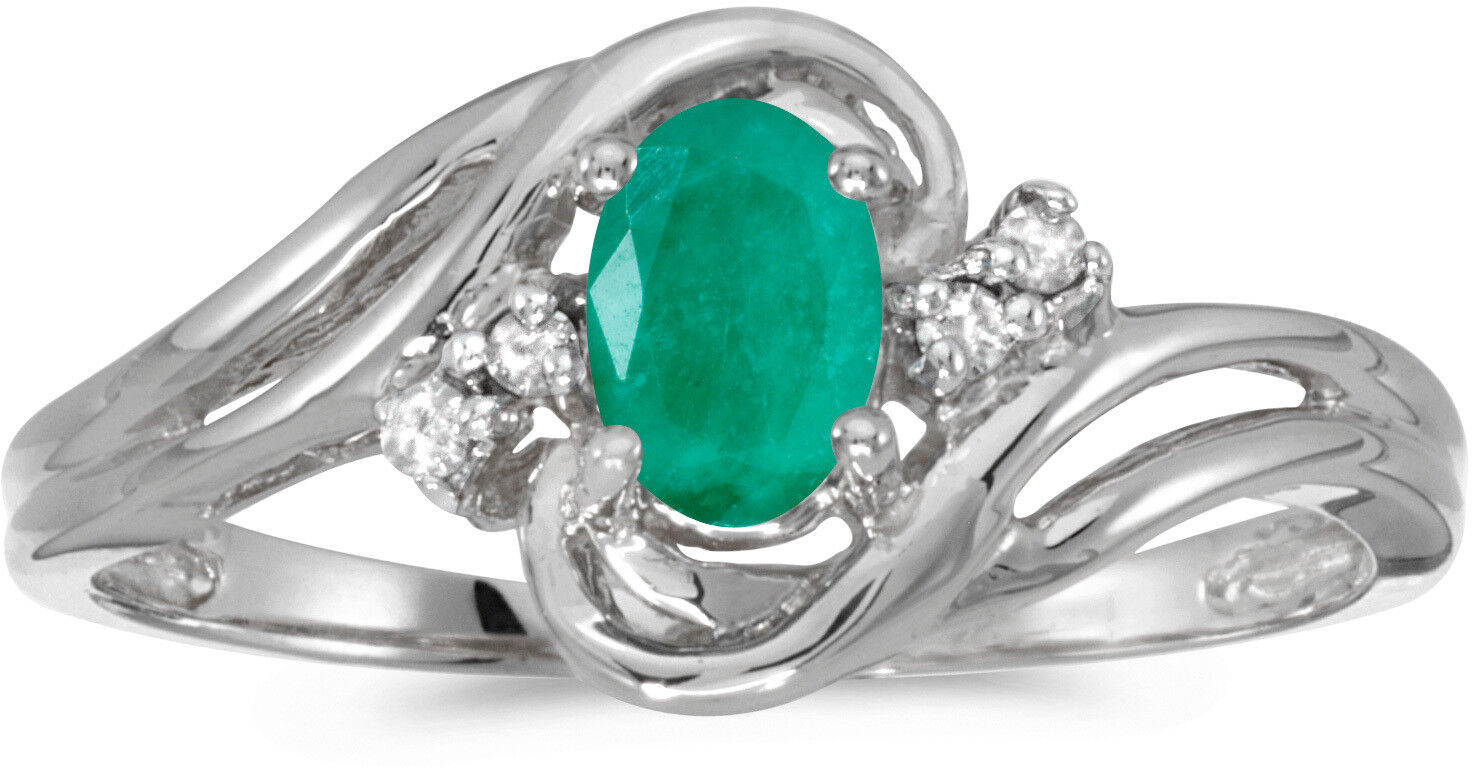 10k White gold Oval Emerald And Diamond Ring (CM-RM1219W-05)