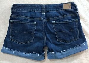American-Eagle-Outfitters-Womens-Cut-off-Cuffed-Denim-blue-Jean-Shorts-size-2