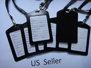 12X-ID-Card-Holder-Badge-Retractable-Genuine-Leather-with-neck-strap-US-Seller