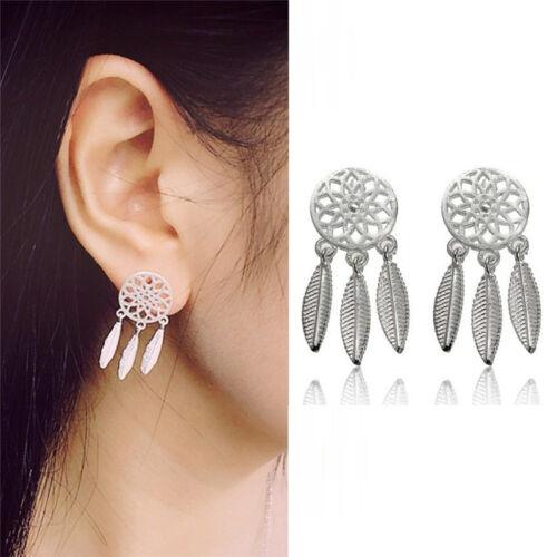 1Pair Bohemia Women Dream Catcher Feather Ear Stud Drop Earrings Jewelry FadLD