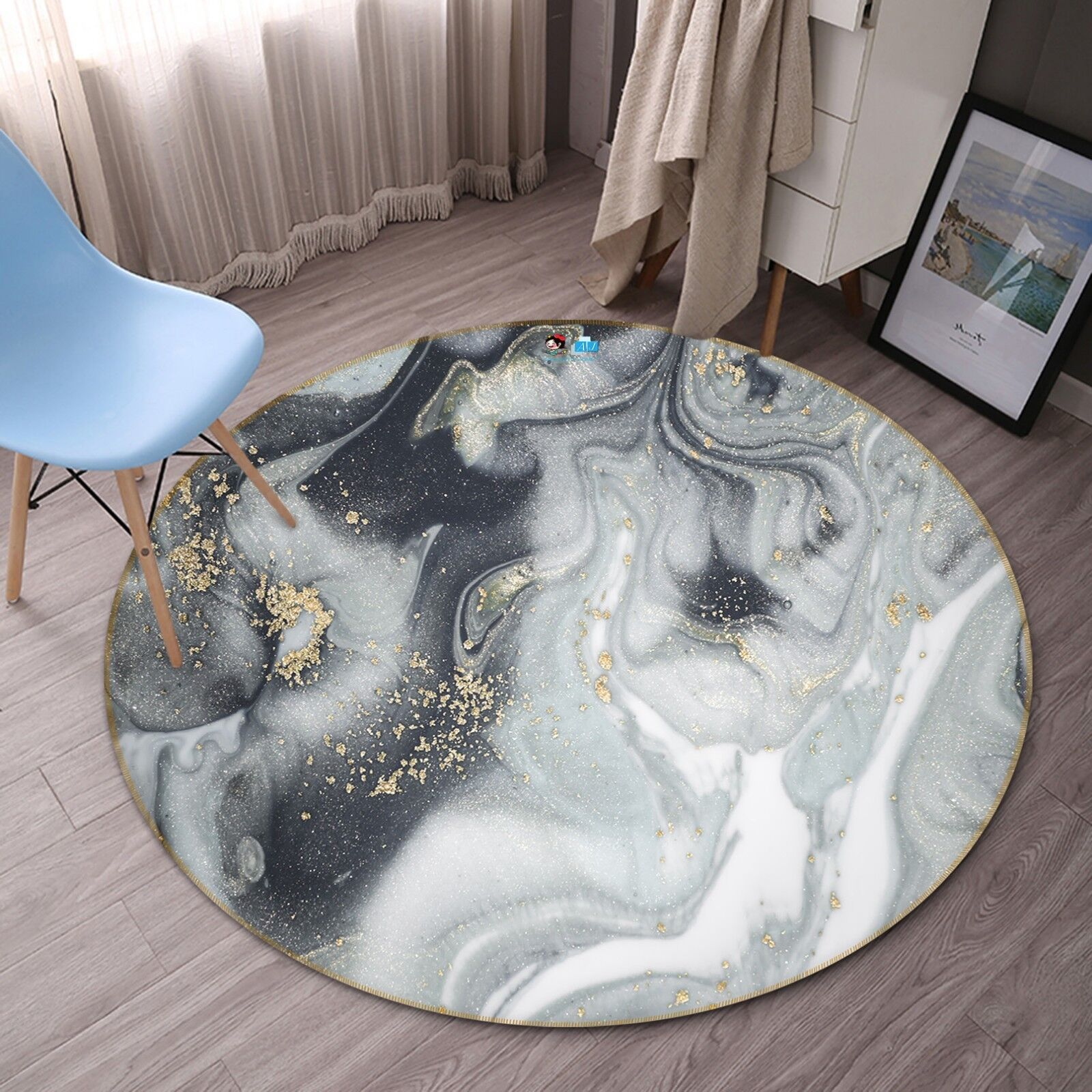 3d gris abstracto 6 antideslizante alfombra de maletero rondas elegante alfombra