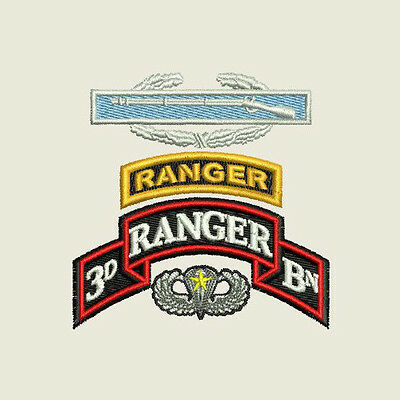 3rd Ranger Bn Airborne Combat Jump Wings Embroidered Polo Shirt