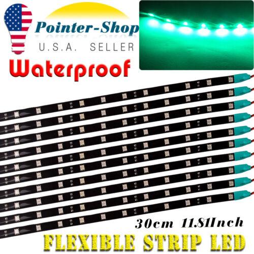 "10X Green 12/"" Car Motor Flexible LED Strip Light 5050 High Power Waterproof 12V"