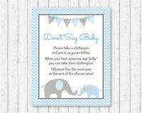 Blue Chevron Elephant Dont Say Baby Baby Shower Game Printable