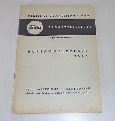 Motors Operating Instructions Parts Catalog Fella Aufsammelpresse Fap 3 Stand 12/1961 Farming & Agriculture