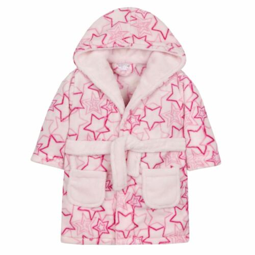 Baby Toddler Dressing Gown Bathrobe with Hood Pink Blue White  6-24 Months