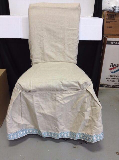 Fine Ballard Designs Parsons Dining Chair Slipcover Natural Linen Spa Chain Trim Machost Co Dining Chair Design Ideas Machostcouk