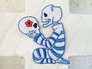Death-Prison-Inmate-Skeleton-Skull-Girl-Boy-Red-Punk-Rock-Iron-On-Patches-Patch