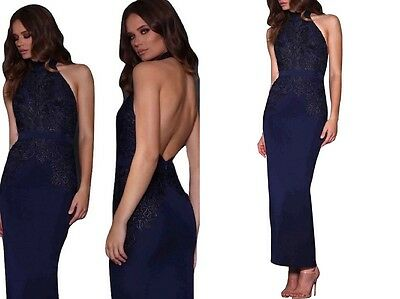 Designer Elle Zeitoune Navy Long Formal Evening Gown Halterneck Backless Dress