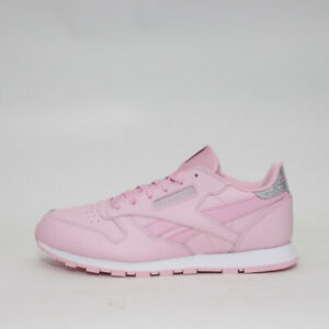 premium selection c9e39 361b6 Details about Womens Reebok Classic Leather Pastel Pink/Silver Trainers  (TGF26) RRP: £42.99