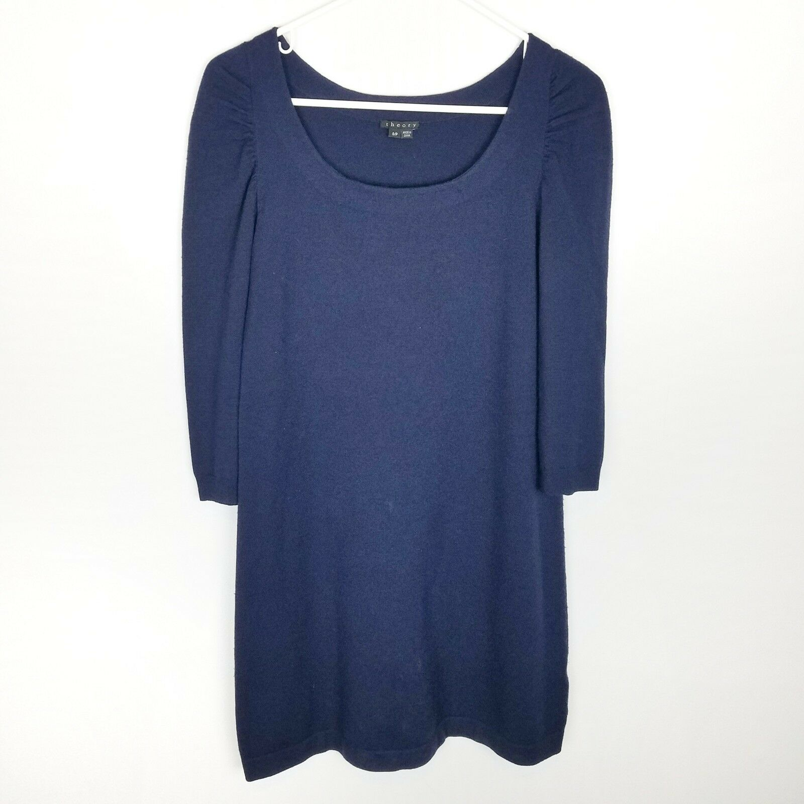 Theory Long Sleeve Wool Shift Dress Dark bluee Puffed Shoulder Size Small Petite