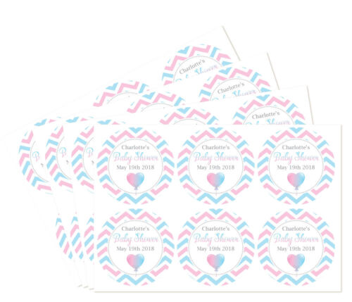 pink /& blue design with choice of 3 patterns Personalised baby shower stickers
