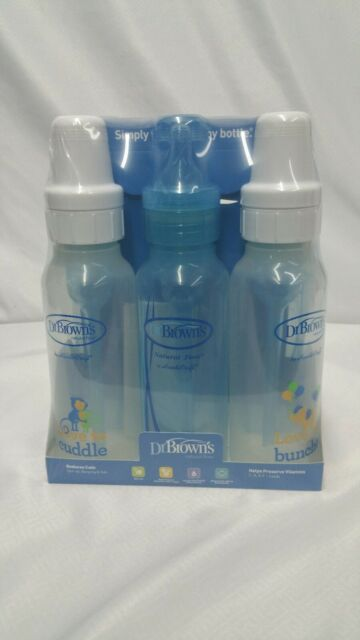 Brown/'s Baby Bottles Boys Deco 6 Pack blue and clear bottles Dr