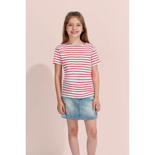 SOL'S Kids MIGLIA a Righe Manica Corta T-Shirt Con Nastro Collo Ragazzi Ragazze Casual Estate