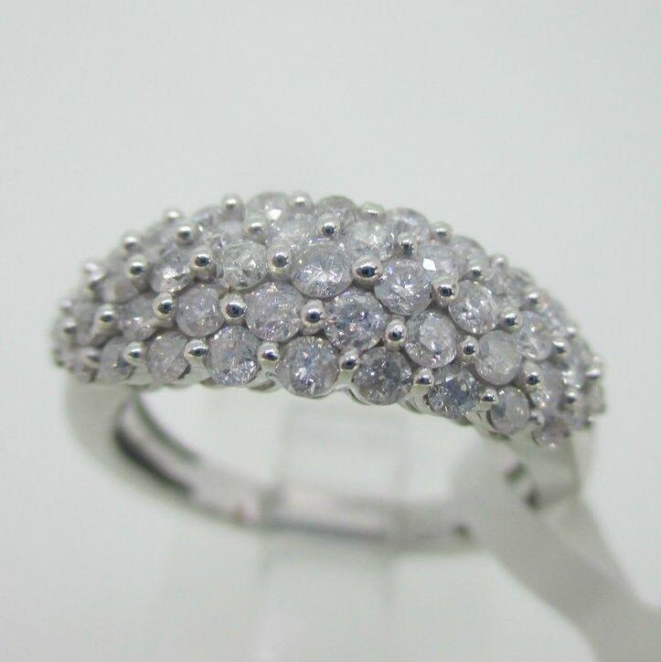 10K White gold Diamond 1.0ct TW Cluster Ring Size 6.75