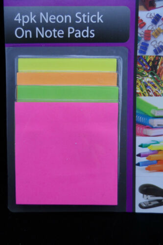 FREE POS 1 X 4PK 25PC NEON STICK ON NOTE PADS YELLOW,ORANGE,GREEN AND PINK