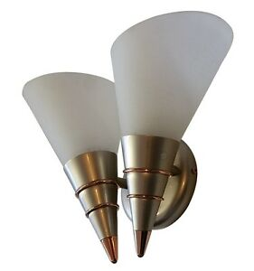 Modern Twin Brushed Steel Wall Light Frosted Glass Uplighter 2 Spot Cone Fitting eBay