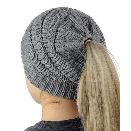 Femme Fille Bonnet Chapeau Tricot Extensible Bataille Chignon Queue Cheval Hiver