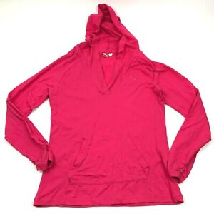 PUMA Hoodie Shirt Womens Size Large L Pink Pullover Ruched Sleeves Lightweight T