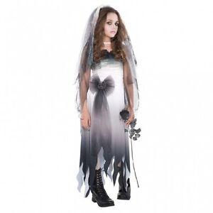 Fasching Kinder Kostum Gr 152 158 Grusel Braut Mit Schleier