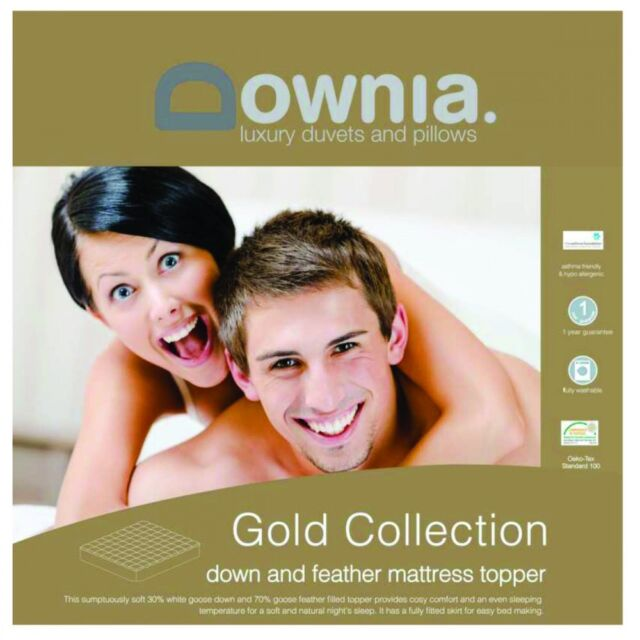 Downia Gold Collection White Goose Down & Feather Mattress Topper QUEEN Bed Size