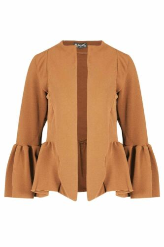 Womens Ladies Casual Bell Sleeve Open Front Collared Office Coat Blazer Jacket