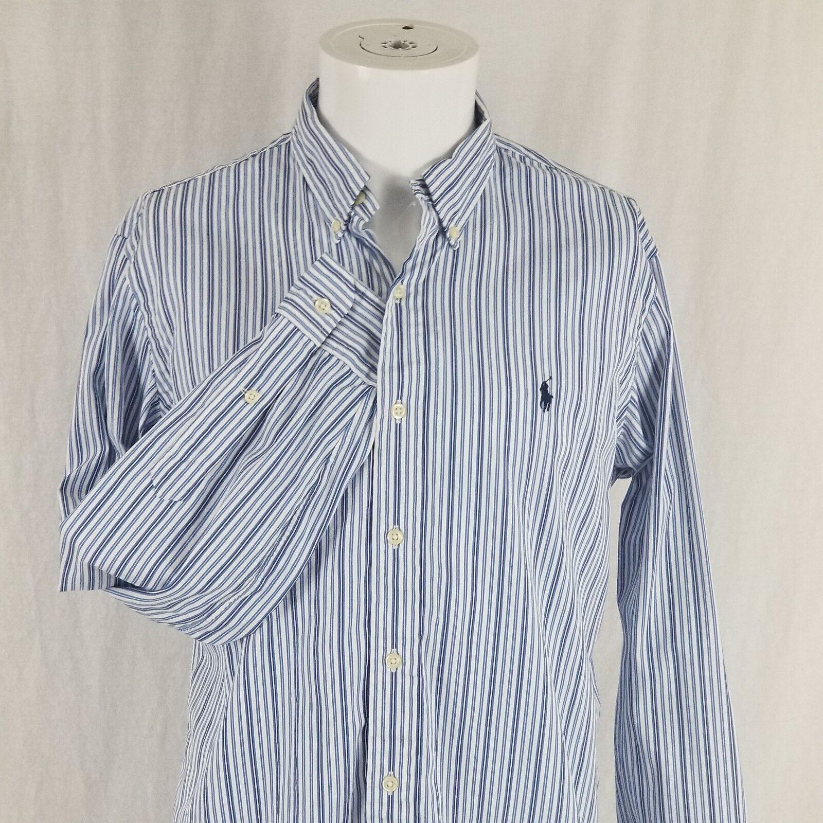 Ralph Lauren Men's Medium bluee Striped Button Down Collared
